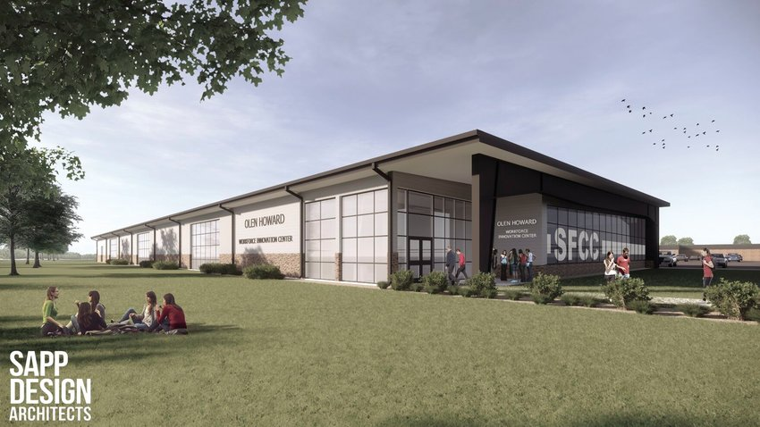 Pictured is an architect's rendering of State Fair Community College's Olen Howard Workforce Innovation Center. College officials hope to open the center in spring 2022.