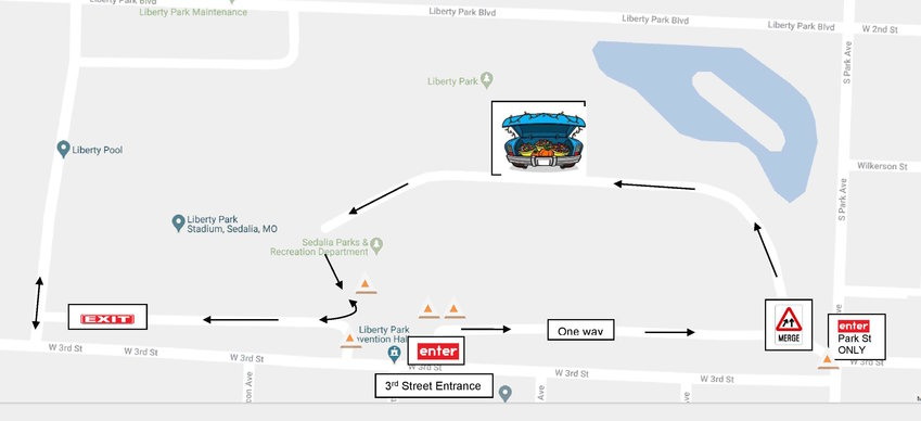 This map shows the route at Liberty Park for the Sedalia Parks and Rec Drive-Thru Trunk or Treat event.