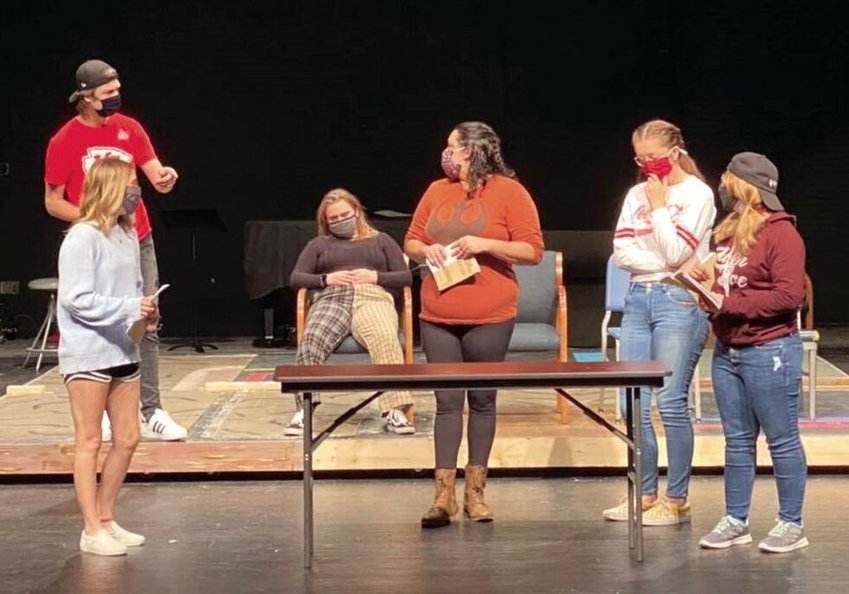 "State Fair Community College students rehearse for the upcoming performance of the comedy, ""Dearly Departed."" From left is Ben Brewer (wearing black hat), Jenna Speer, Brianna Harlow, Sara Hensel, Annie Henson, and Kennedy Keele."