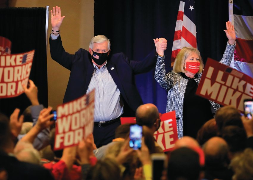 Missouri Gov. Mike Parson and his wife, Teresa Parson, come out on stage to greet the crowd and announce Gov. Parson was re-elected Tuesday, Nov. 3, 2020, in Springfield, Mo.