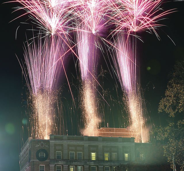 Fireworks light up the sky as they are shot off the roof of the Hotel Bothwell in downtown Sedalia on Thanksgiving in 2016.