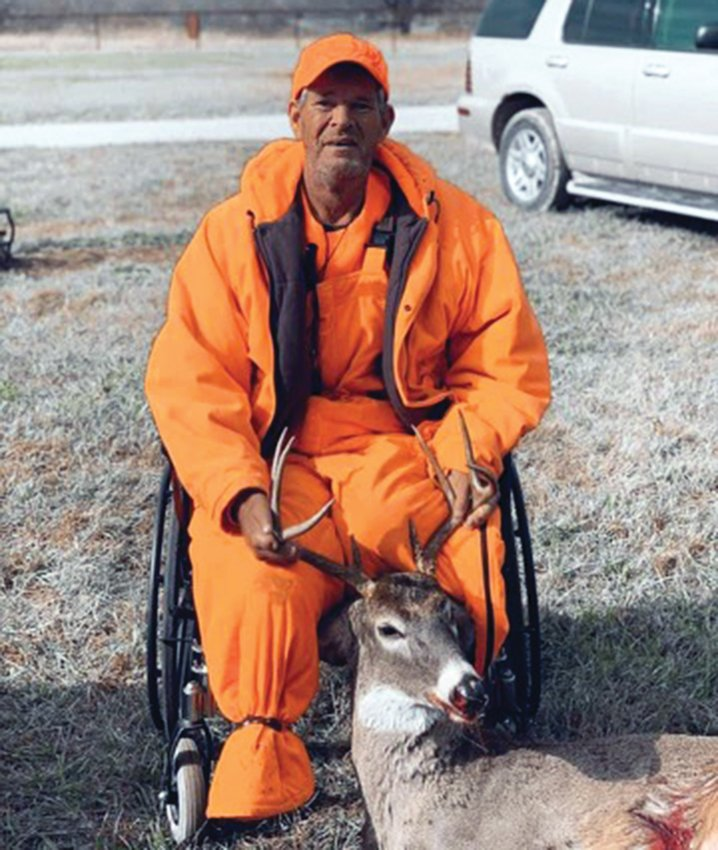 John Husong recently shot his first deer since he became a double amputee. He harvested the nine-point buck on private land in Edwards.