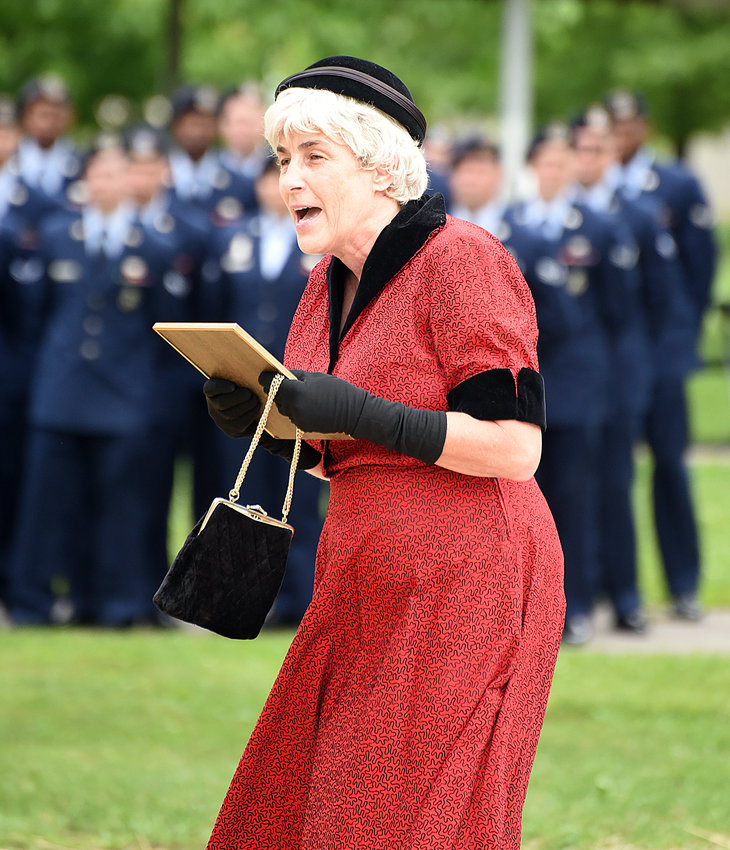 In a 2015 presentation, Kathleen Boswell portrays Aunt Mildred, the aunt of late 2nd Lt. George Whiteman, who was shot down Dec. 7, 1941, at Pearl Harbor. Boswell was selected for a three-year term with the Show Me Missouri Speakers Bureau.
