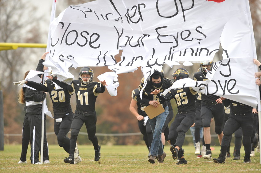 Windsor football takes the field before a Nov. 21 game against Marionville at Dave Powell Memorial Field.