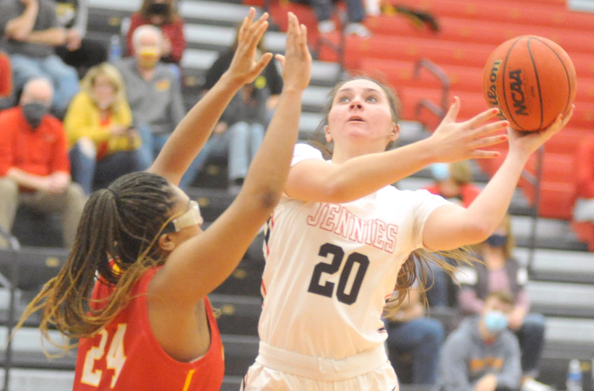 Jennies freshman Graceyn Holden shoots the ball Saturday during a 78-61 victory over Pittsburg State at the Multipurpose Building in Warrensburg.