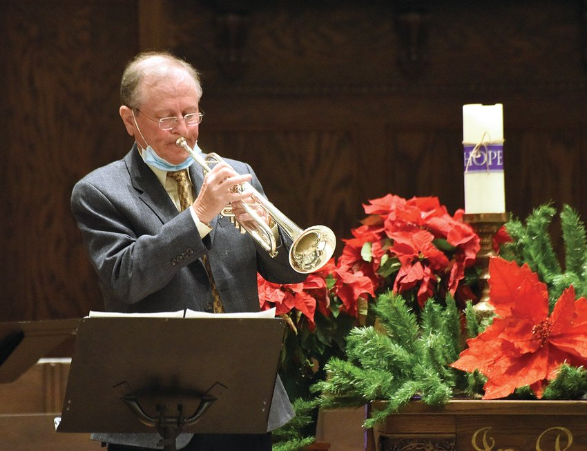 """Monday night, Sedalia Symphony Orchestra member Robert Koffman plays """"The Trumpets Shall Sound"""" from the """"Messiah"""" during a practice session for the Symphony's virtual Christmas Concert slated for 7 p.m. Sunday."""