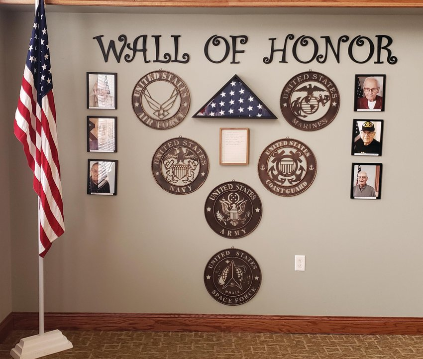A Wall of Honor at one of Cedarhurst's local locations honors veterans living at the facility.