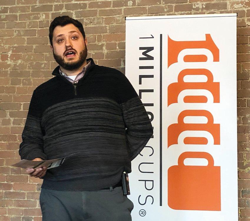 Callis & Associates Digital Marketing Manager Kyle Meek speaks on digital marketing trends at the Sedalia 1 Million Cups meeting Wednesday at Lamy's.