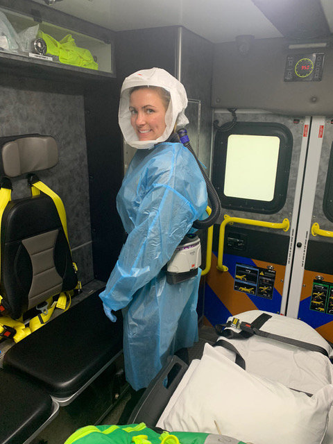 Lacey Short, Pettis County Ambulance District paramedic and infection control officer, wears one of the department's new Powered Air Purifying Respirators (PAPR). The device is a hood with a clear shield with airflow and filtration and allows patients to see the faces of the people helping them, making communication faster and easier.