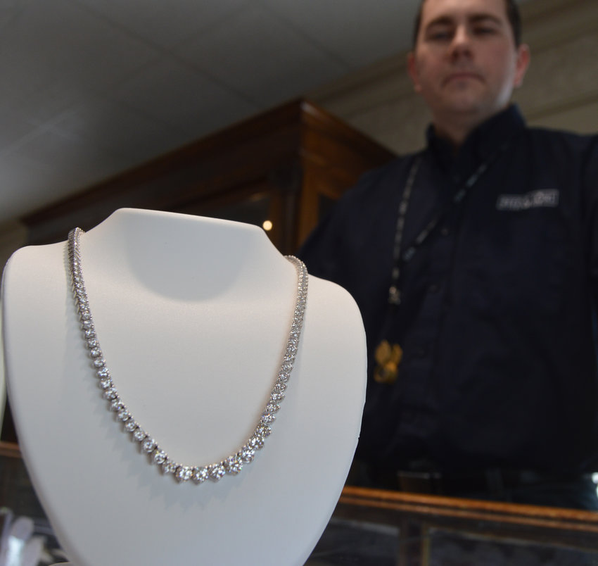 On Wednesday, Ryan Reed of Reed & Sons Jewelry shows off a $19,000 Riviera necklace available at the store, 825 Thompson Blvd.