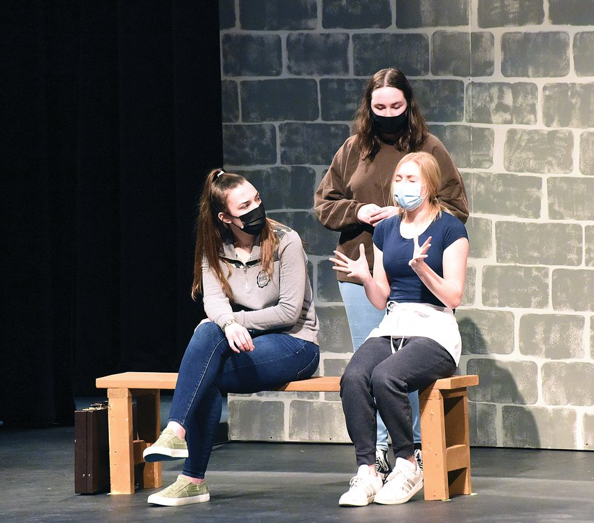 """Smith-Cotton High School theatre students practice for the upcoming play """"Tracks"""" that will be presented Friday evening for Theatre for a Cause. From left are Chloe Fiet (a lawyer), Alaina Ayers (a nun) and Caroline Beard (a waitress). Proceeds from the event will be donated to the Mercy Rest Stop in Sedalia."""
