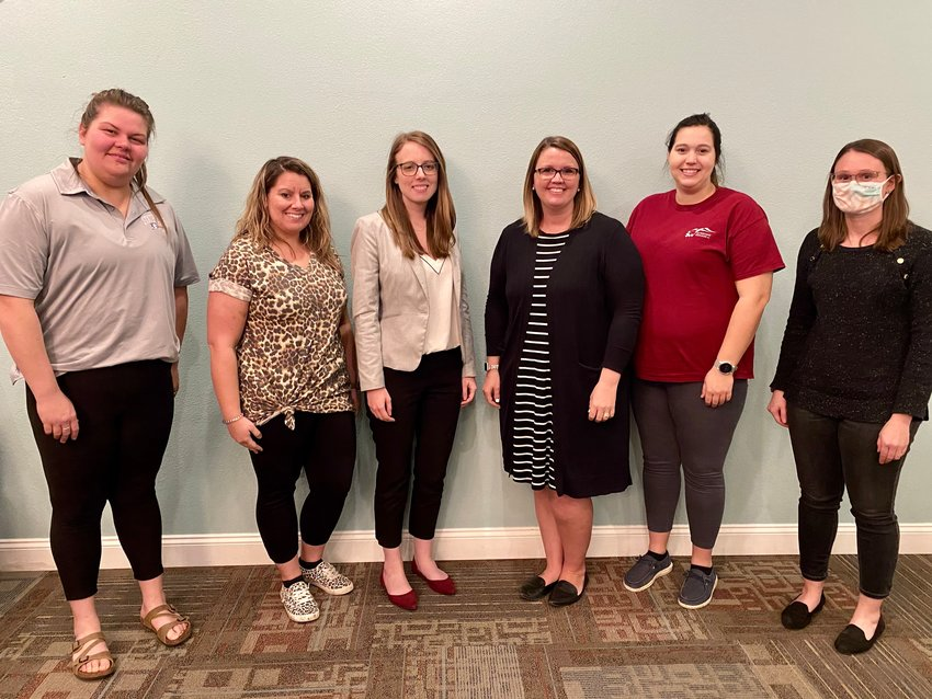 The Sedalia Young Professionals executive council for 2021 includes, from left, Secretary Sarah Manuel, President Madison Henderson, Public Relations Chair Nicole Cooke, Treasurer Megan Page, Sedalia Area Chamber of Commerce Liaison Alyssa Curtis, and Vice President Katie Kirby.