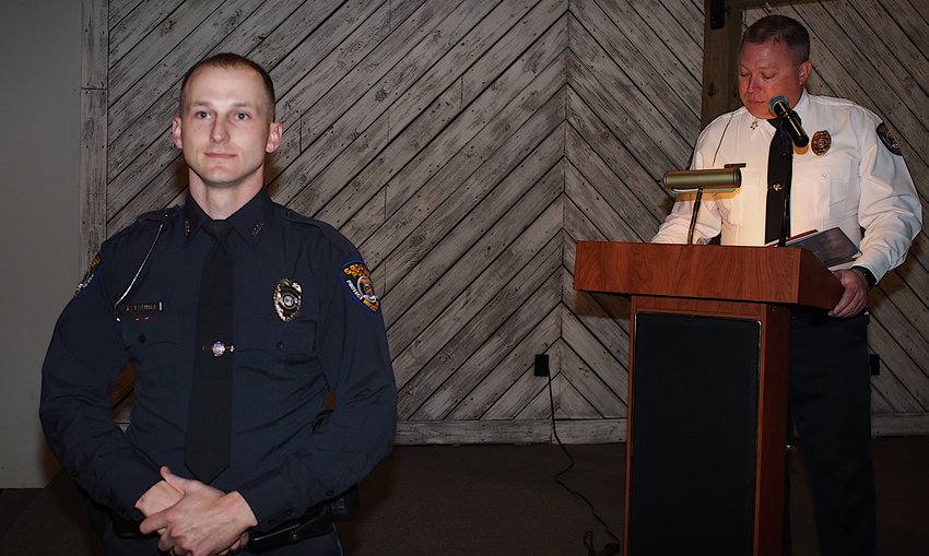 Sedalia Police Officer Brett Twenter was named Officer of the Year at Tuesday's Sedalia Police Department 2021 Awards Ceremony at The Venue.