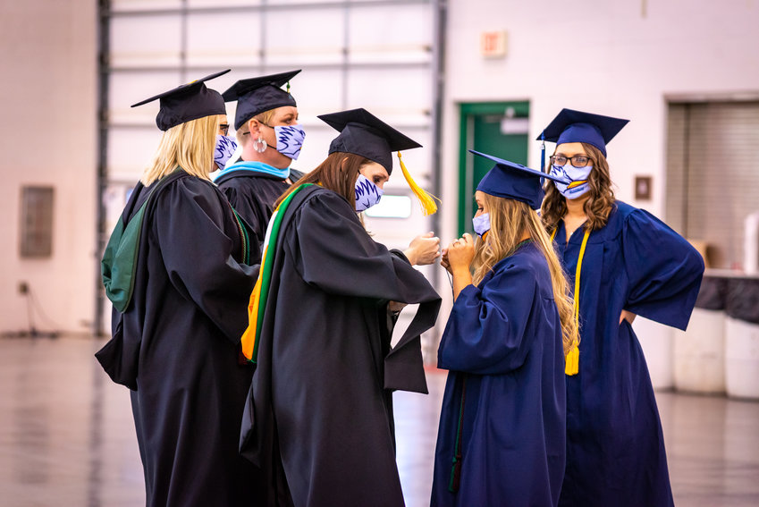 State Fair Community College graduates celebrate during the 2021 commencement May 14. The recent event had COVID restrictions, such as face masks and social distancing.