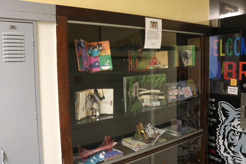 Popup books displayed by the Smithton School District library entrance show books that will be part of the late Hope Lecchi's collection in her honor. Lecchi was a former teacher from Smithton School and a cherished resident of the town.