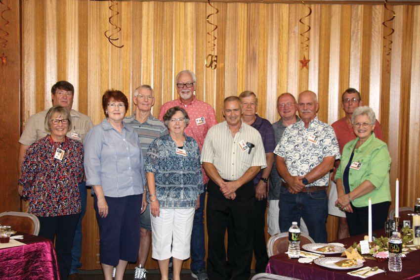 The Smithton High School Class of 1971 hosted its 50th reunion Saturday, Aug. 28 at the Smithton United Methodist Church Fellowship Hall. On back row from left, Terry Summers, David McCandless, Jim Hays, Wes Crain, Roger Jaeger, and Ken Page; front row, Jane Abington, Rhonda Summers, Rebecca Ledgerwood Class Sponsor, Bill Griffing, Jim Sneed, and Glenda Muschany.