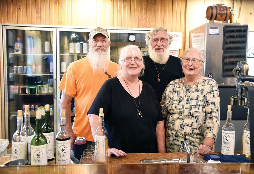 Jerrilyn Monroe, left, and her husband Larry Monroe, of Stover, and her parents Georgene and John Takersley, of Fortuna, owners of Timber Ridge Winery in Stover, hosted an open house for the winery on Saturday. Timber Ridge opened in February.
