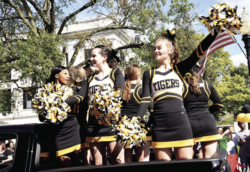 Smith-Cotton cheerleaders celebrate Homecoming during the 2018 annual parade along South Ohio Avenue. This year's parade will be hosted Friday, Oct. 15.