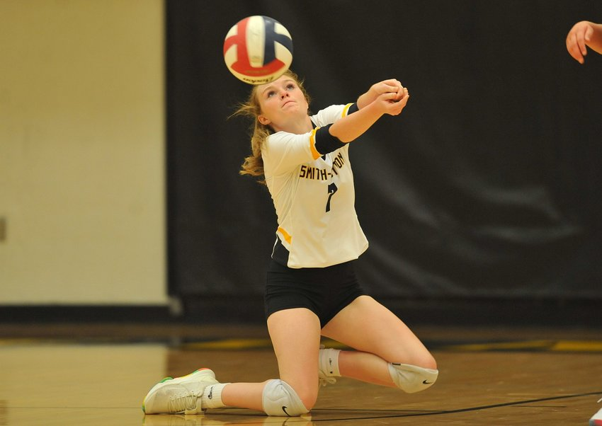 Smith-Cotton's Zoey Hieronymus attempts a dig against Eldon in Tuesday night's home game against Eldon.