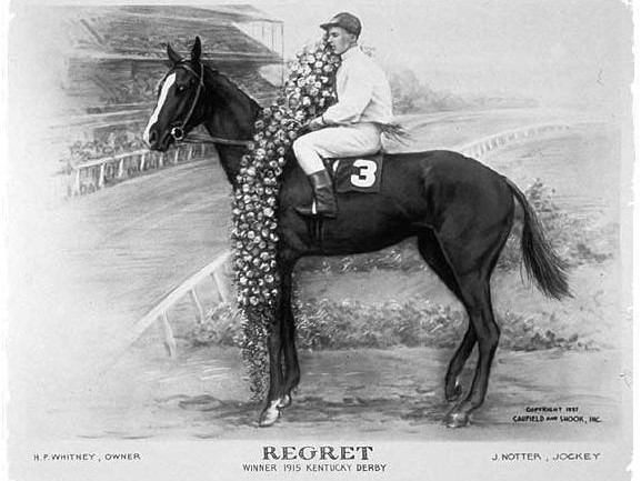 Regret, winner of the 1915 Kentucky Derby and the first of three female horses to ever win the famed race.