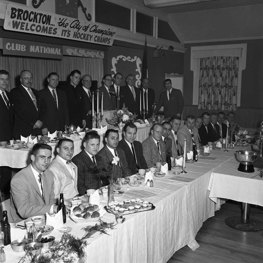 Brockton Wetzell Hockey Club celebrates its U.S. national championship, April 13, 1959.