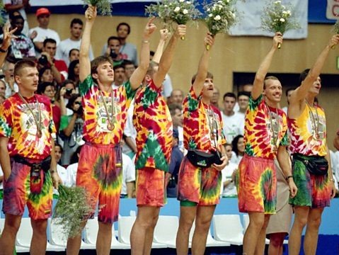 Bronze winners at the 1992 Olympics, the Lithuanian basketball team accept their medals wearing Grateful Dead tie-dyes.