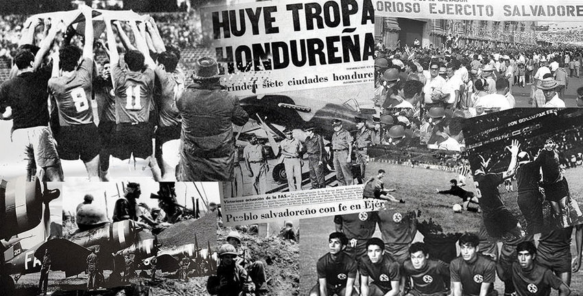 """A collage of newspaper headlines and images depicting the """"Soccer War"""" between El Salvador and Honduras in 1969."""