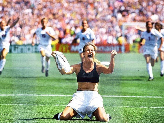 The unforgettable image of Brandi Chastain celebrating Team USA's victory over China for the 1999 Women's World Cup.  That match saw the highest TV ratings for any female sport in American history.