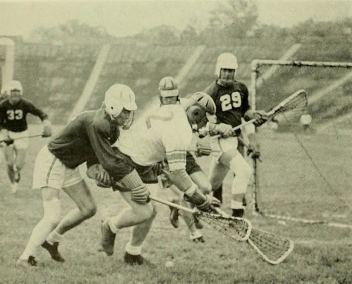 A 1955 lacrosse meet between The Johns Hopkins University and the University of Maryland.  Dating back to 1895, their intense rivalry has also placed the state of Maryland at the top of the game nationwide.