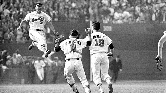 "The Baltimore Orioles celebrate their victory at the 1966 World Series. Their golden years encompassed a playing philosophy called ""The Oriole Way"", which saw them through 18 consecutive winning seasons and two more World Series titles (1970, 1983)."
