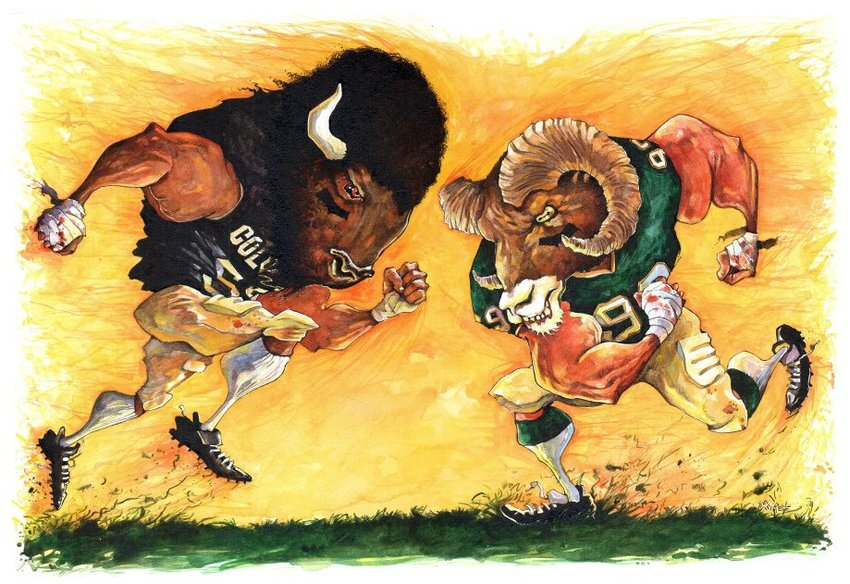The 'Rocky Mountain Showdown' pits the University of Colorado Buffaloes versus the Colorado State University Rams.  With its roots in 1893, the 'Showdown' is the oldest in-state sports rivalry between two public Universities.