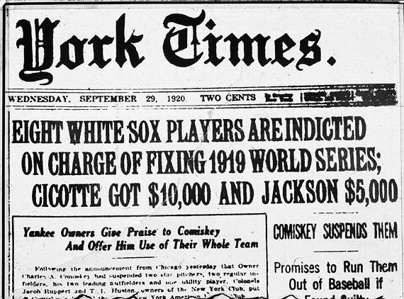 Towards the end of the 1920 baseball season, eight White Sox players and a group of gamblers were implicated in fixing the 1919 World Series.  Their scam went awry even before the scandal broke out and they never collected the full amount of their expectations.