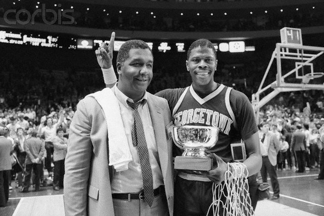 Coach John Thompson and star center Patrick Ewing celebrating their win at the 1985 Big East final in Madison Square Garden.  Beginning in 1972, Thompson and Athletic Director Francis Rienzo would take Georgetown University to new athletic heights, culminating with the 1984 NCAA national championship.