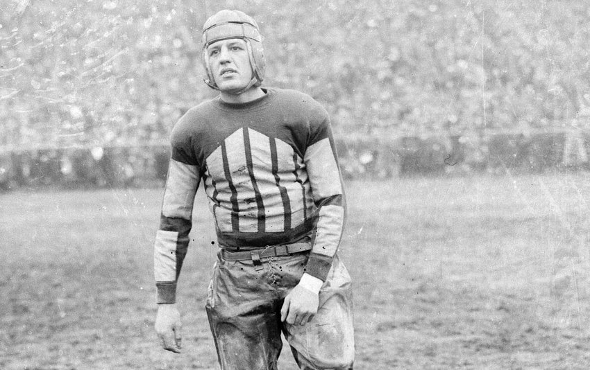 """Harold """"Red"""" Grange of the Chicago Bears shown in 1925.  George Halas, owner of the Bears and one of the founders of the NFL, referred to Red as """"The Eternal Flame of Professional Football""""."""