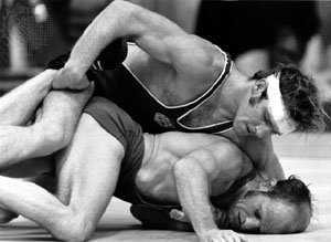 Dan Gable in action at the 1972 Olympics where he won gold in the lightweight freestyle wrestling competition.  Twice an NCAA Division I champion, Gable went on to a successful coaching career at the University of Iowa.  He remains the most accomplished freestyle wrestler in American history.