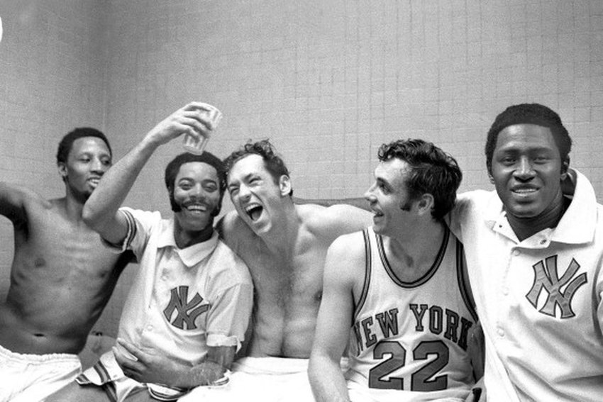 1970 NBA champs, the NY Knicks. From left to right: Dick Barnett, Walt Frazier, Bill Bradley, Dave DeBusschere, and Willis Reed. A legacy group of players, all except Barnett would be inducted into the Basketball Hall of Fame.