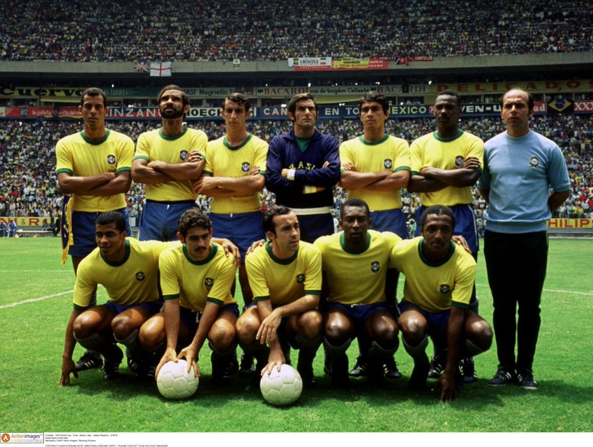 The 1970 Brazil national team. Regarded as the greatest squad ever assembled in international soccer, they went undefeated at the qualifiers and at the 1970 World Cup. Kneeling second from right is the iconic Pele who accounted for more than half the team's goals at the Cup, either directly or by assists.