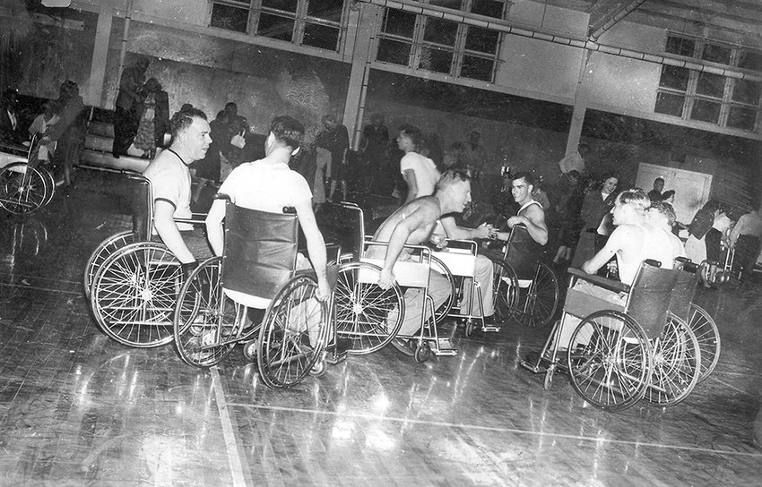 "A practice game shown at the Naval Hospital in Corona, California in the years following WWII. David Davis' new book, ""Wheels of Courage"", tells the story of the first wheelchair basketball teams and the profound impact they had on the perception and treatment of people with disability."