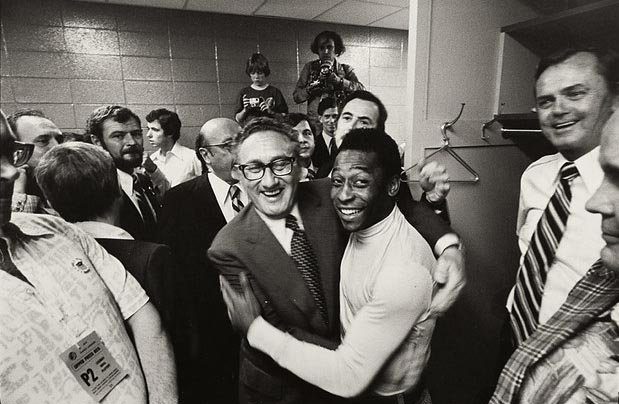 Legendary soccer star Pele and Secretary of State Henry Kissinger shown embracing at Giants Stadium in 1977. With glitz and politics, soccer landed in America in the mid-1970s, helping to plant the seeds for the future of the sport in the U.S.