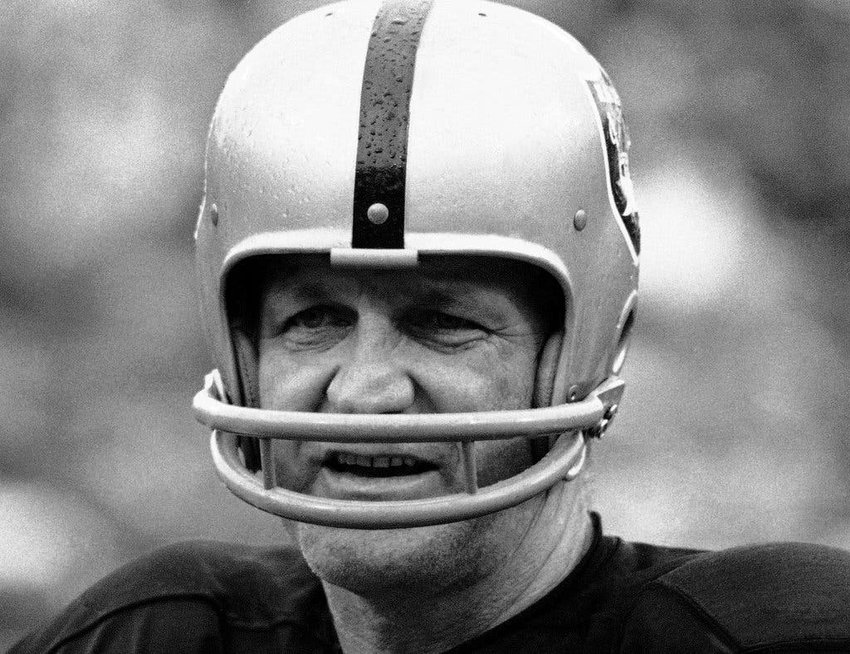George Blanda, quarterback and kicker for the Oakland Raiders. In 1970, at the age of 43, Blanda delivered a series of unprecedented late-game touchdowns and field goals in 5 consecutive matches that led his team to the playoffs. He was named the AP 'Athlete of the Year', the first time an NFL player received the prestigious award.