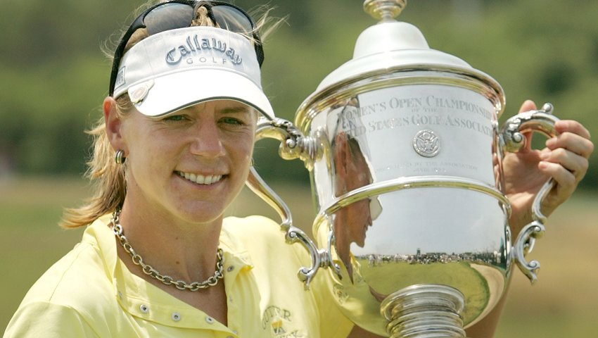 Annika Sörenstam holding the 2006 Women's U.S. Open trophy after winning the tournament in Newport, Rhode Island. That year, she held the No. 1 world ranking for 60 weeks from February to April, 2007. The Swedish-born golf prodigy retired with 94 professional victories and over $22 million in career earnings.
