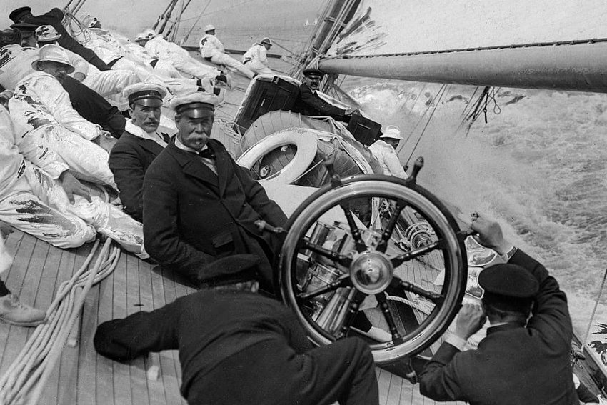 Thomas Lipton aboard one of his racing yachts. An avid sailor, the Irish-Scottish tea tycoon competed 5 times at the America's Cup and lost each challenge. The beloved yachtsman was later awarded with a special cup and declared 'greatest loser'.