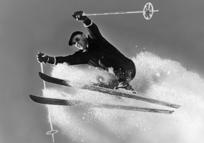 Alf Engen airborne (circa mid-1940s). The ski legend went on to found the Alta Ski School and put his signature on 30 ski resorts in the northwest, including Sun Valley and Jackson Hole. The Alf Engen Ski Museum in Park City, Utah is named after him.
