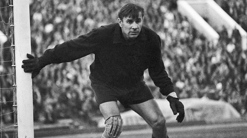 Lev Yashin guarding the net. Playing for Dynamo Moscow from 1950-1970, he is regarded as the greatest goal keeper of the 20th century.
