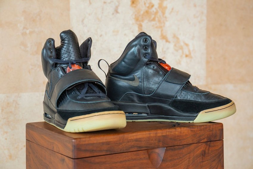 The Kanye West Nike Air Yeezy sneakers that sold for $1.8 million in auction at Sotheby's on April 26, 2021. Breaking Michael Jordan's previous record setting price for sneakers ($615,000), it was the first time that a non-athlete topped the high-end sneaker reseller market.