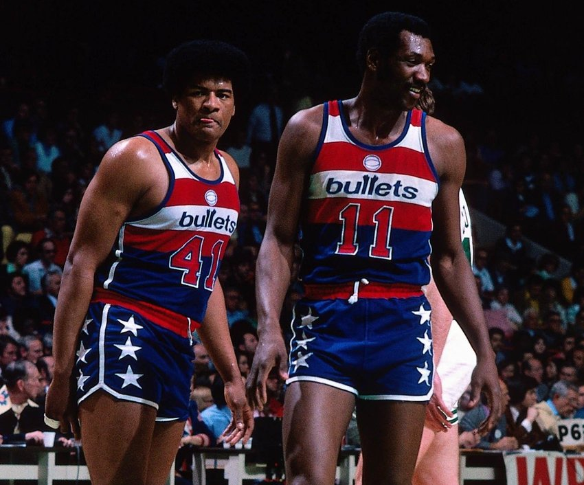Wes Unseld (left) and Elvin Hayes of the Washington Bullets shown in 1978. From high school, to college, to the pros, Maryland's basketball scene was unequaled in talent during the 1970s and 80s.
