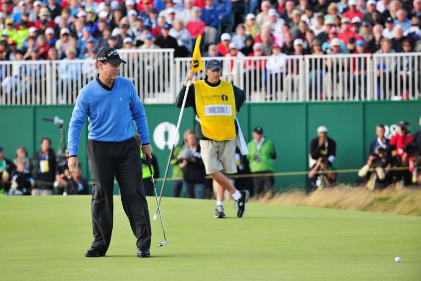 Tom Watson looks on as he misses par on the 18th hole of the final round at the 2009 Open. The errant putt sent him into a losing playoff, which denied him an historic opportunity to become the oldest golfer to win a major at the age of 59.