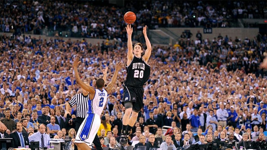Butler's Gordon Hayward launching a shot against Duke at the 2010 NCAA championship. Butler lost the match, but as a small school its visibility at the tournament exploded and student applications soared by 41%.