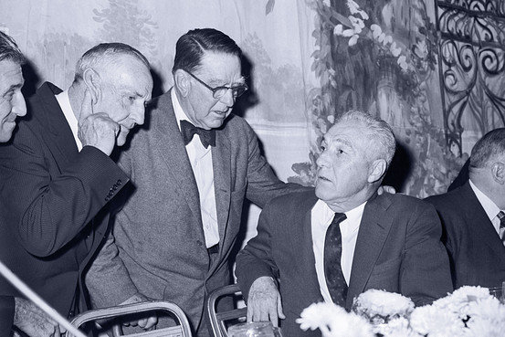 Continental League president, Branch Rickey (center), conferring with MLB Commissioner, Ford Frick (right), in the fall of 1960. The Continental League challenged MLB's established order, forcing baseball's first expansion since the modern game was born.