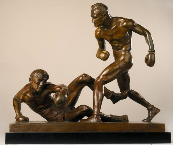 'The Knockdown', a bronze sculpture created by American artist Mahonri Young that won gold at the 1932 Olympics in Los Angeles. Between 1912 and 1948, art was an Olympic event.